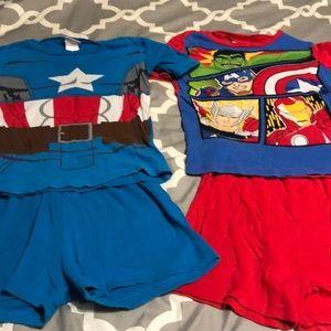 2 pairs pajama sets size 10 shorts and top